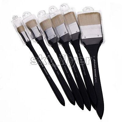 6pcs Wool Hair Paint Brush Set Gouache Oil Painting Art Flat Head Craft