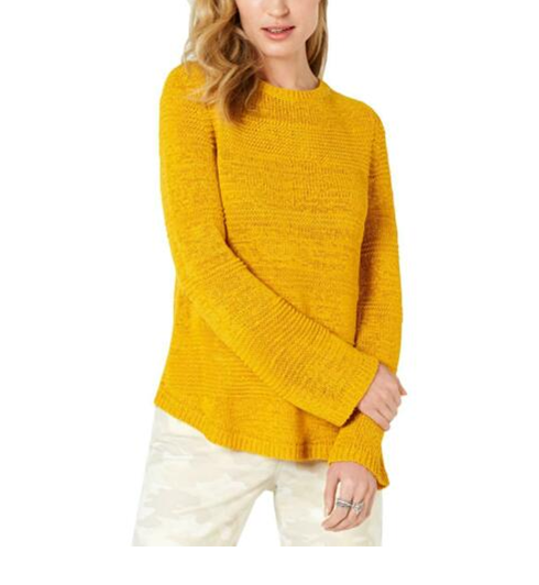 NEW Style & Co. Women's Crochet Pattern Pullover Sweater Gold Size XXL