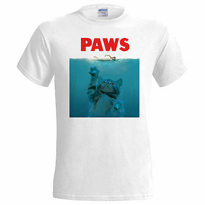Paws Jaws Spoof Funny Parody Mens T Shirt  Small - 5XL