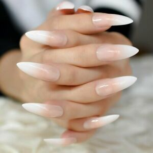Details about 24/1 French Manicure Short / Medium / Long Full Cover False  Fake Nails Tips Glue