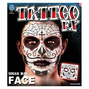 Skull Full Face Temporary Tattoo Tinsley Halloween Special FX Make up