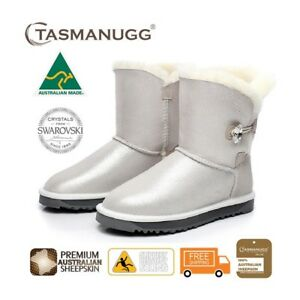 88cec88e386 Details about TASMAN UGG- Short SWAROVSKI Crystal Button Boots,Australian  Made,Sheepskin,Cloud