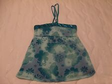 JUSTICE GILR'S SIZE 18 BLUE FLORAL HALTER/TUBE TOP GUC
