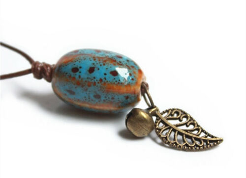 Fashion Women Adjustable Ceramic Pendant Porcelain Necklace with Small Bell Leaf