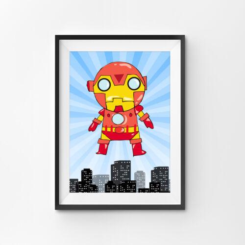Superhero Prints Set Boys Childrens Bedroom Wall Art Nursery Decor Pictures Gift