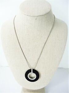 Modern-Estate-Mestige-Necklace-Silver-Tone-Pendant-Circle-Rhinestone