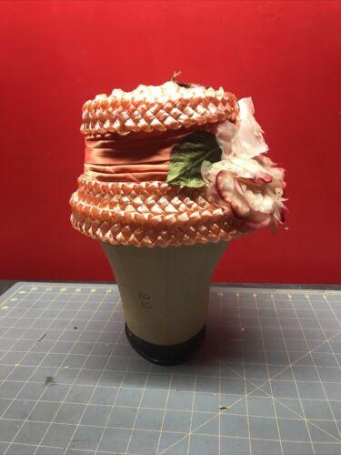 Vintage Women Ladies Hat - Pink Straw w/ Flowers
