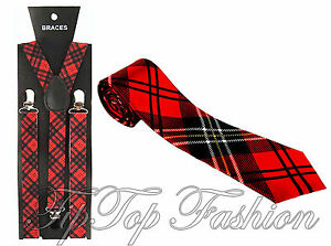 Adult Tartan Matching Braces Bow Tie /& Skinny Tie Set Scottish Fun Fancy Dress