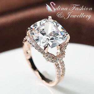 18k rose gold plated swarovski lab diamonds luxury carat cushion cut ring ebay. Black Bedroom Furniture Sets. Home Design Ideas