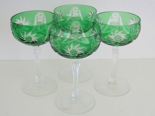AJKA HUNGARY ADORLEE EMERALD GREEN CASED CUT CRYSTAL SAUCER CHAMPAGNES Set of 4