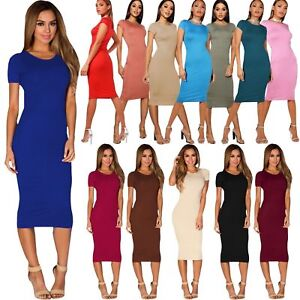 8452e28b1d01c Womens Midi Dress Ladies Plain Short Cap Sleeve Bodycon Maxi Midi ...