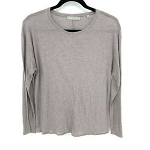 Vince-Womens-Size-Small-Brown-Scoop-Neck-Long-Sleeve-Solid-Pullover-T-Shirt-Top