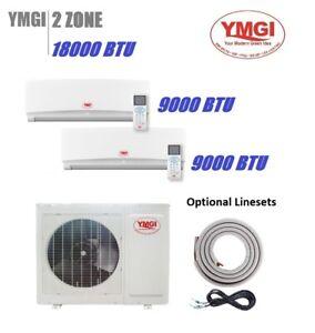 2 Zone Ductless Mini Split Air Conditioner YMGI 18000BTU Dual Zone heat pump JI8