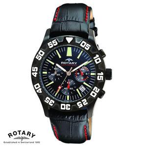 Rotary-GS00201-04-Aquaspeed-Armband-Uhr-Herren-Chronograph-Leder-NEU
