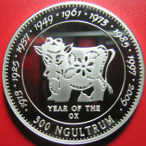 1996-BHUTAN-300-NGULTRUM-SILVER-PROOF-OX-CHINESE-LUNAR-YEAR-SUPERB-amp-RARE-COIN