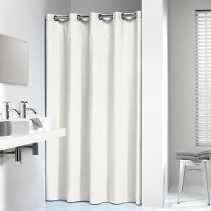 Extra Long Hookless Shower Curtain 72 X 78 Inch Sealskin Coloris Off White Cotto