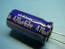 (10) NICHICON UVX1J471MHA 63V 470uF 85°C RADIAL ALUMINUM ELECTROLYTIC CAPACITOR