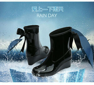 2017-Womens-Wellington-Ankle-Boots-Wellies-Rain-Snow-Black-Wedge-Trend-Shoes