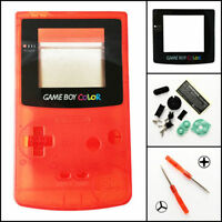 Gbc Nintendo Game Boy Color Housing Shell Clear Red Glass Screen Lens Mint