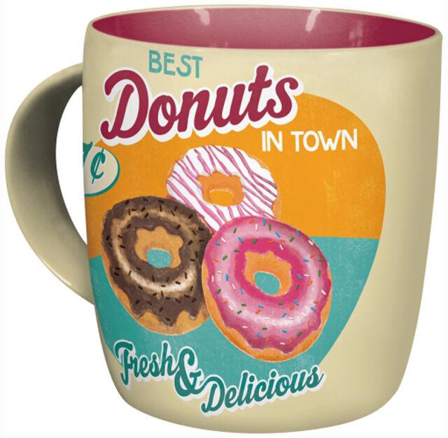 Retro Sturdy Ceramic Mug DONUTS 1950's Vintage Design BEST IN TOWN Yummy!