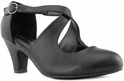 True Wide Details about  /RF ROOM OF FASHION Women/'s Wide Fit Mary Jane Chunky Heel Dress Pumps