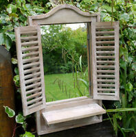 Shabby Chic Wall Shutter Window Mirror With Shelf Rustic Vintage Finish C3052