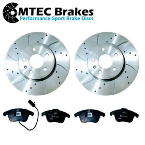 AUDI-A4-B8-A5-8T-1-8-3-2-07-17-FRONT-DRILLED-GROOVED-BRAKE-DISCS-MTEC-PADS-314mm