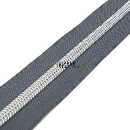 5 estilos de tirador cremallera DIENTES de plata de nylon continua #5 bobina zip Craft