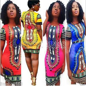 Women-039-s-Traditional-African-Print-Dashiki-Bodycon-Short-Sleeve-Slim-Mini-Dress