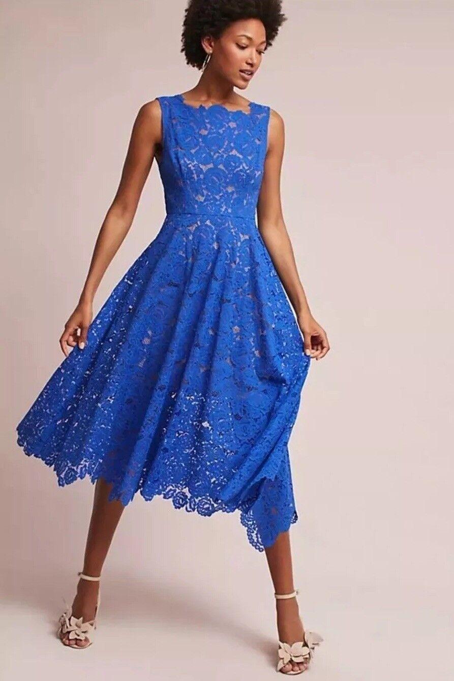 NWT Anthropologie Cerulean Sky Dress Sz 0 Tracy Reese  Royal Blau Lace