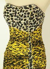 Size 6 Tony Bowls $500 Mermaid Strapless Yellow Animal Long Gown Prom Formal