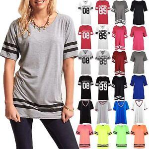 Womens Oversized Baseball Curved Hem Long Sleeve Sports Top Ladies Stripe Dress