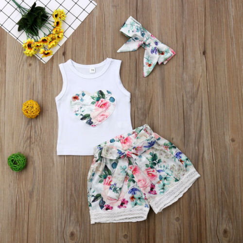 USStock Toddler Baby Girl Summer Clothes Floral Top+Shorts Pants Outfit 3Pcs Set
