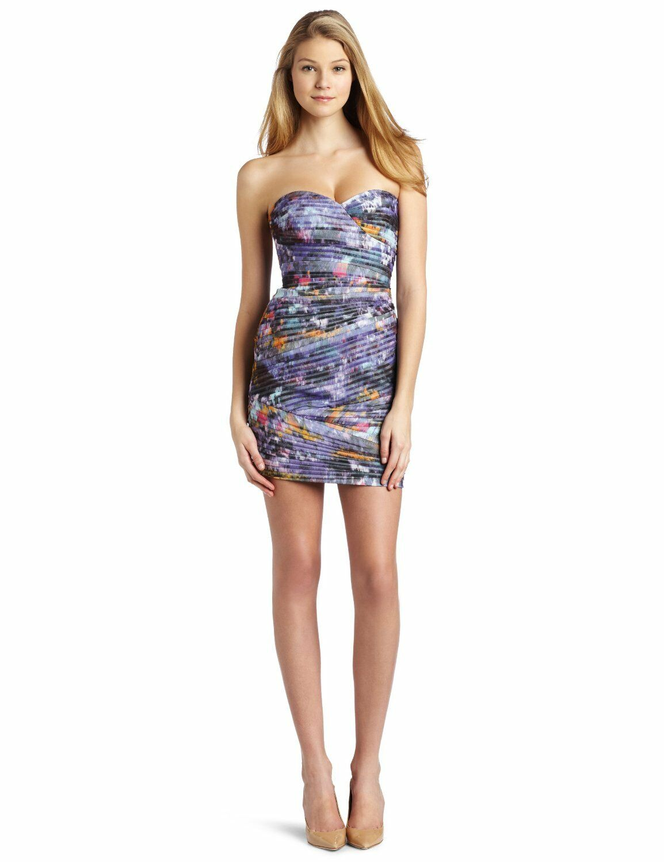 328 328 328 BCBG Maxazria Kameron Dark Persimmon Combo Pleated Mesh Strapless Dress 8 3f72c8