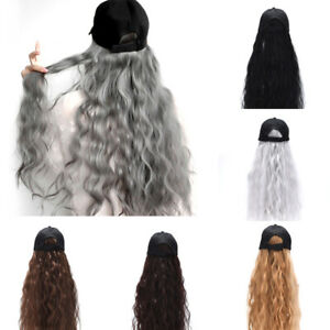 Baseball-Cap-with-Curly-Hair-Wig-Full-Wigs-Long-Natural-Wavy-HairPiece-For-Hu-DD