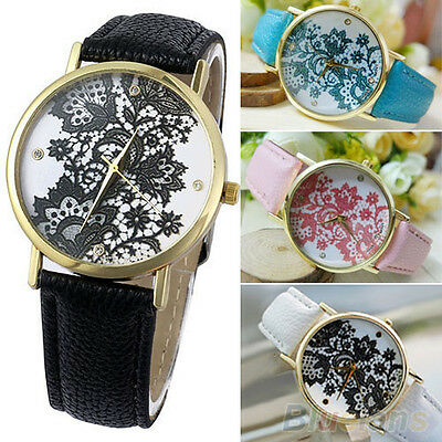 Women's Amazing Round Lace Printed Faux Leather Quartz Analog Dress Wrist Watch
