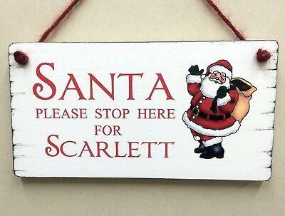 Personalised Santa Stop Here Wooden Santa Claus /& Christmas Tree Decoration