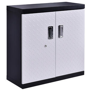 garage steel wall mount cabinet metal storage box organizer 2 shelves tool ebay. Black Bedroom Furniture Sets. Home Design Ideas