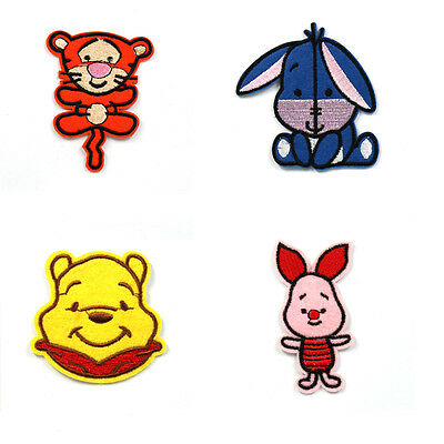 4pcs winnie the pooh w/ his friends Embroidered Iron/Sew ON Patch Cloth Applique