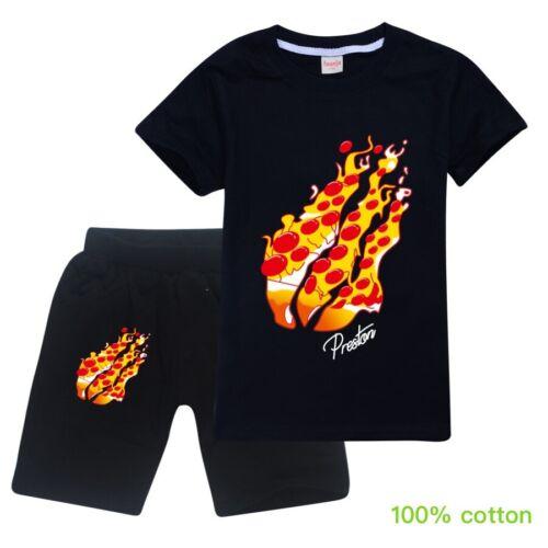 PIZZA FLAME Kids Preston Short Outfits T-shirt Shorts Pants Sports Tracksuit 2pc