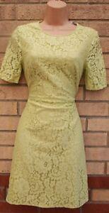 Marks-Spencer-Edicion-Limitada-Verde-Lima-Floral-Encaje-Crochet-una-linea-vestido-16-XL