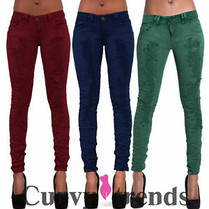 1653dd1cf2b Womens Ripped Skinny Jeans Red Green Blue Sexy Denim Stretchy Pants ...
