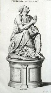 Incisione Xviii Antiques Provided Statua Sacerdotessa Bacchus Vin Antiquité Montfaucon