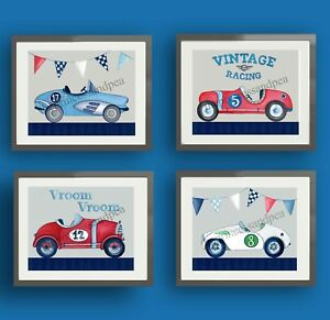 Image Is Loading Vintage Race Car Nursery Art Prints For Racing