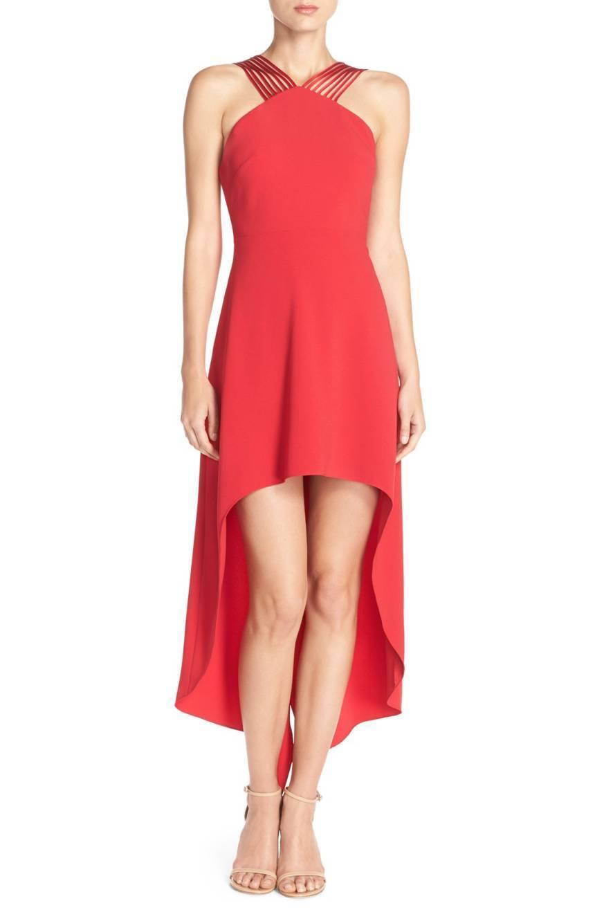 NWT Halston Heritage Stretch Fit & Flare Dress in Carmine Red [SZ 10]  G35