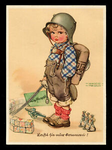 WW2 WWII Germany 3rd Reich Postcard Cover German Hitler Era Kid Soldier Humor