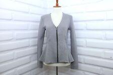 Topshop Scuba Peplum Zip up Gray Jacket Top Size US 6 Slim fit