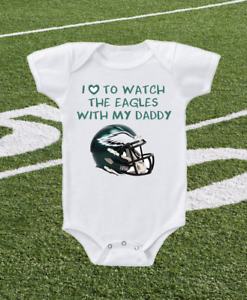 separation shoes 59e46 77a26 Details about Philadelphia Eagles Onesie Bodysuit Shirt Helmet Design Love  To Watch WIth Daddy