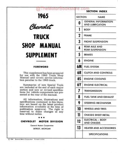 1965 Chevrolet Truck Shop Manual Supplement