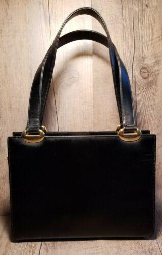 Vintage 1950s Coblentz Black Leather Clutch Purse